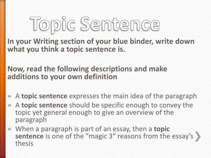 In your Writing section of your blue binder, write down what you think a topic sentence is.