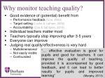 why monitor teaching quality