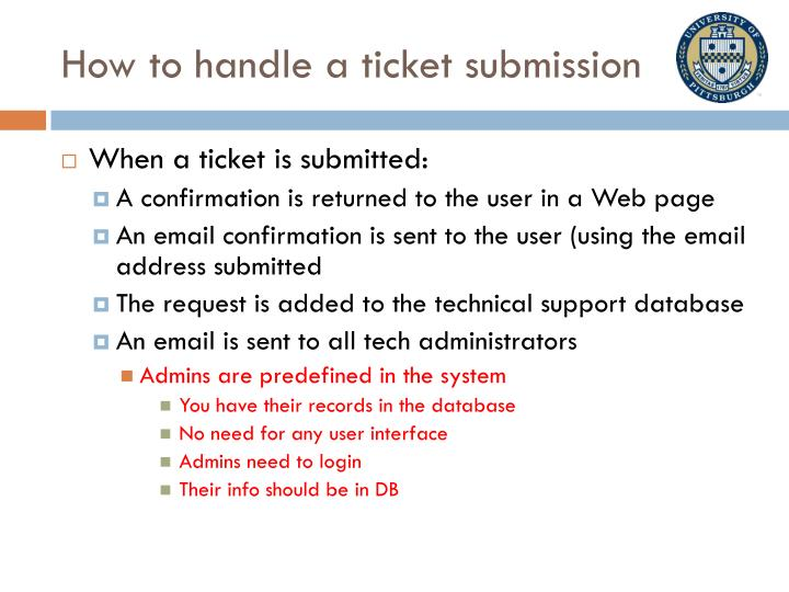 How to handle a ticket submission