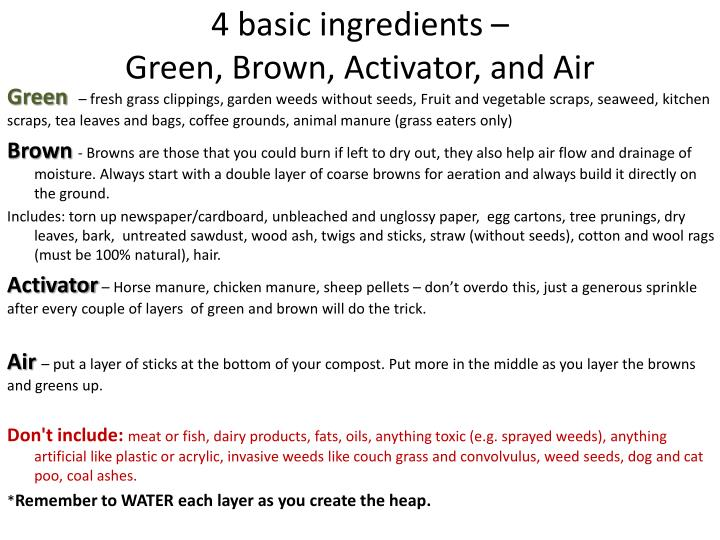 4 basic ingredients –