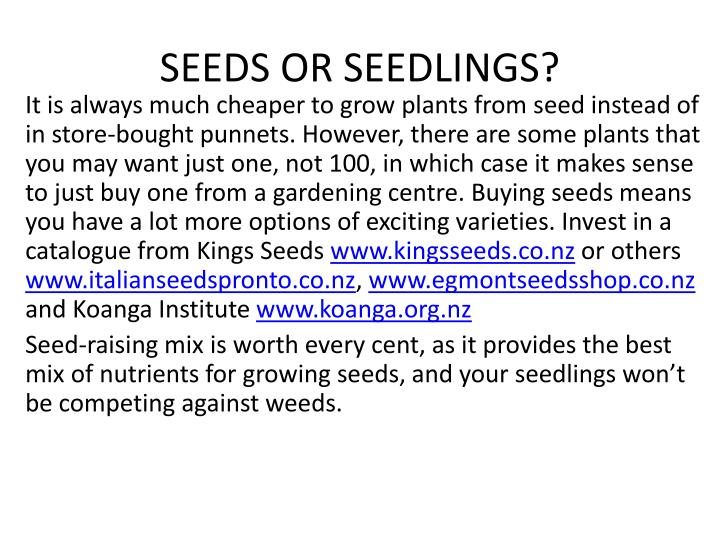 SEEDS OR SEEDLINGS?