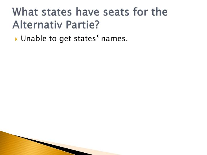 What states have seats for the