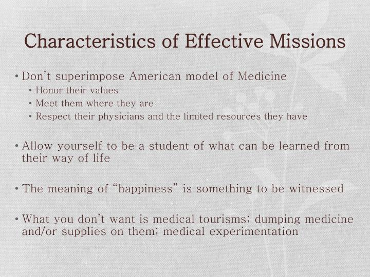 Characteristics of Effective Missions