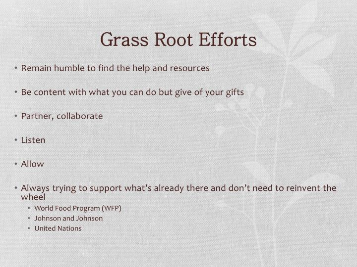 Grass Root Efforts