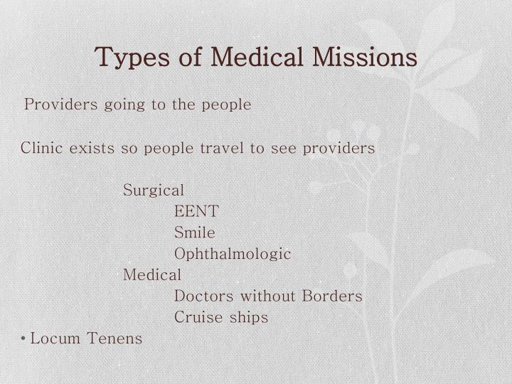 Types of Medical Missions