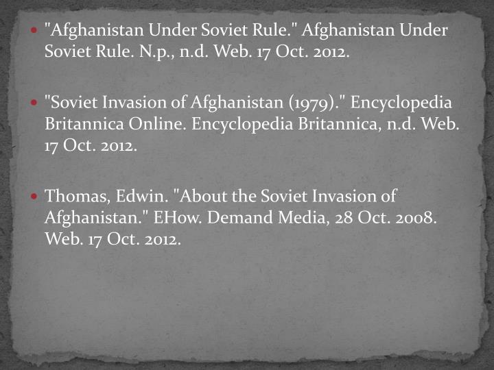"""""""Afghanistan Under Soviet Rule."""" Afghanistan Under Soviet Rule."""