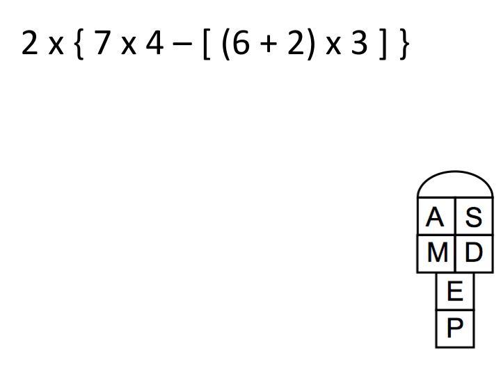 2 x { 7 x 4 – [ (6 + 2) x 3 ] }
