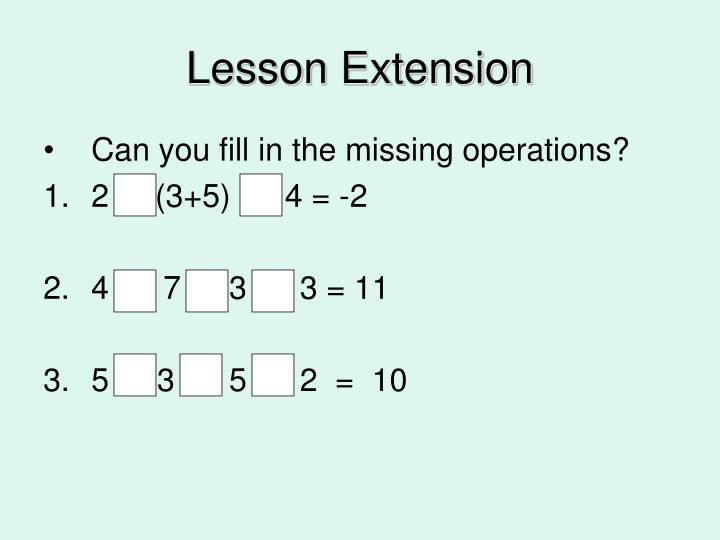 Lesson Extension
