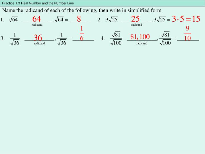 Practice 1.3 Real Number and the Number Line
