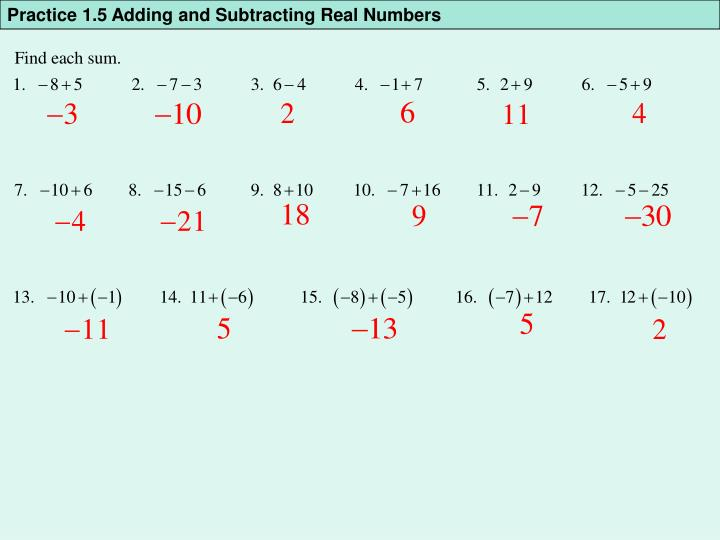 Practice 1.5 Adding and Subtracting Real Numbers
