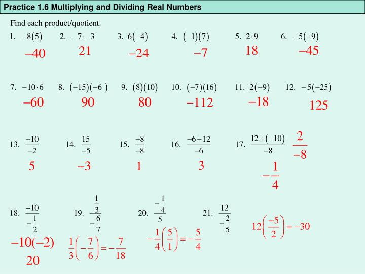 Practice 1.6 Multiplying and Dividing Real Numbers