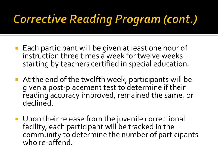 Corrective Reading Program (cont.)