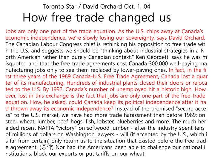 Toronto star david orchard oct 1 04 how free trade changed us