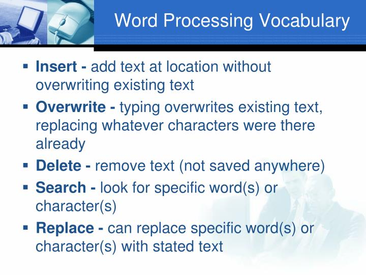 Word Processing Vocabulary