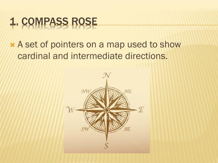 A set of pointers on a map used to show cardinal and intermediate directions.