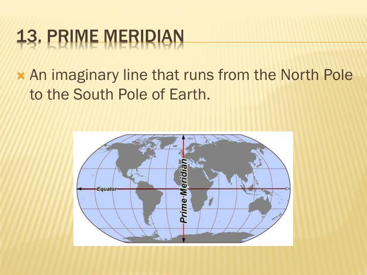 An imaginary line that runs from the North Pole to the South Pole of Earth.