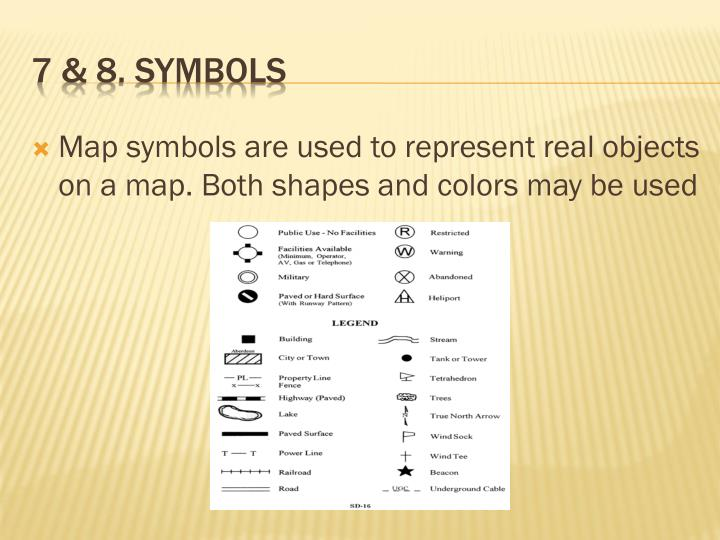 Map symbols are used to represent real objects on a map. Both shapes and colors may be used