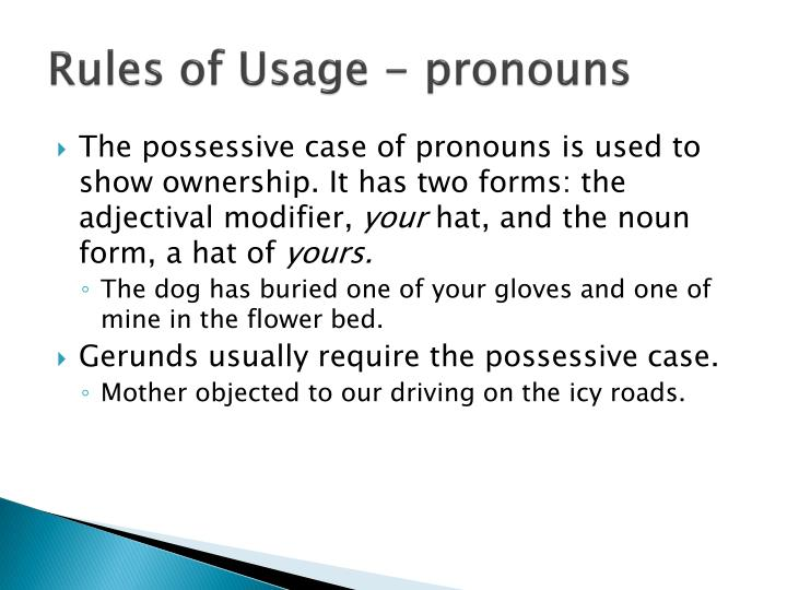 Rules of Usage - pronouns