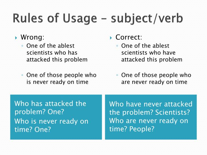 Rules of Usage – subject/verb