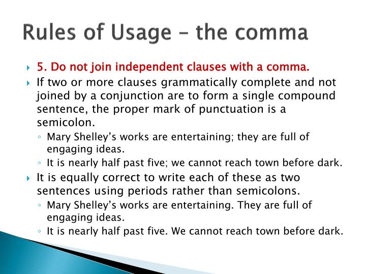 Rules of Usage – the comma