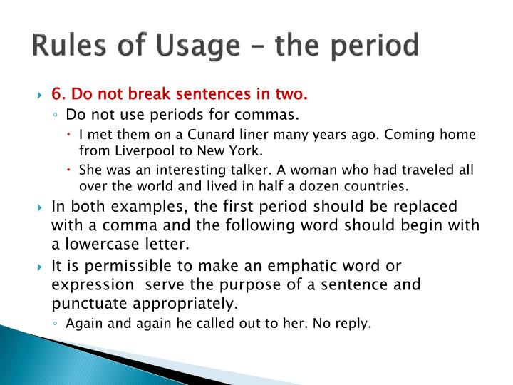 Rules of Usage – the period