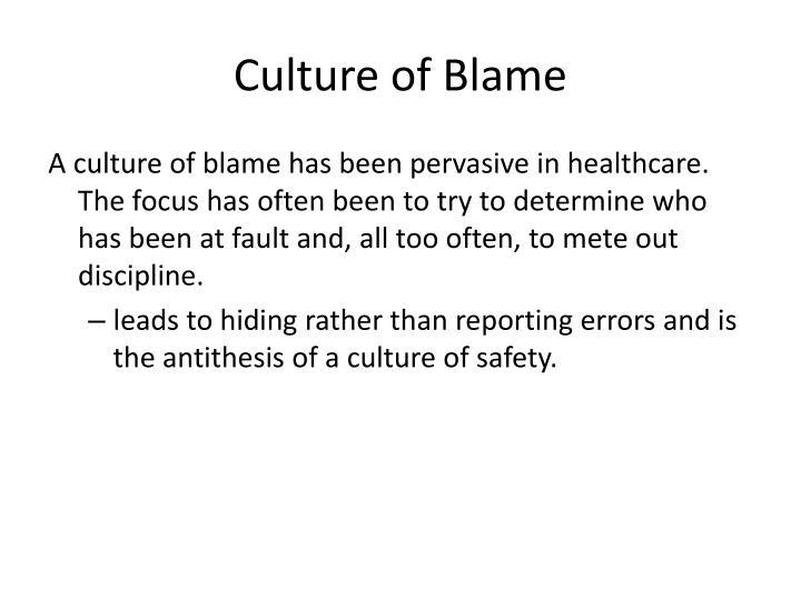 Culture of Blame