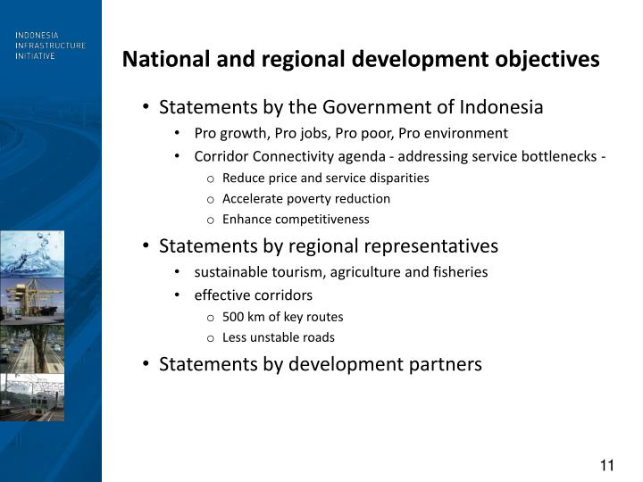 National and regional development objectives