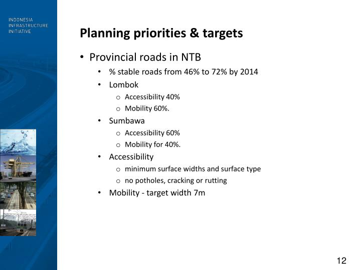 Planning priorities & targets