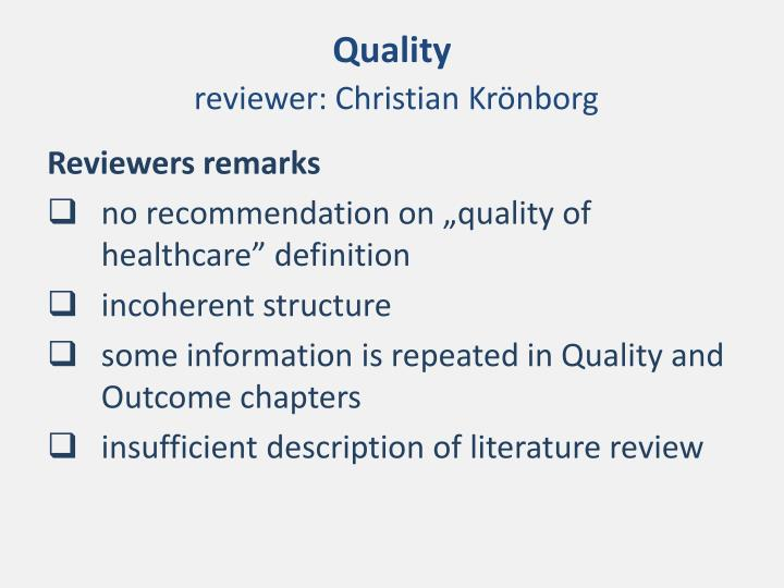 Quality reviewer christian kr nborg