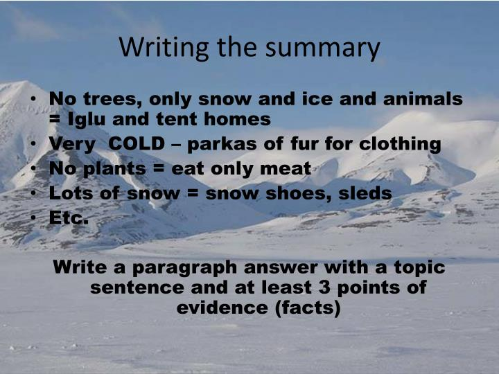 Writing the summary