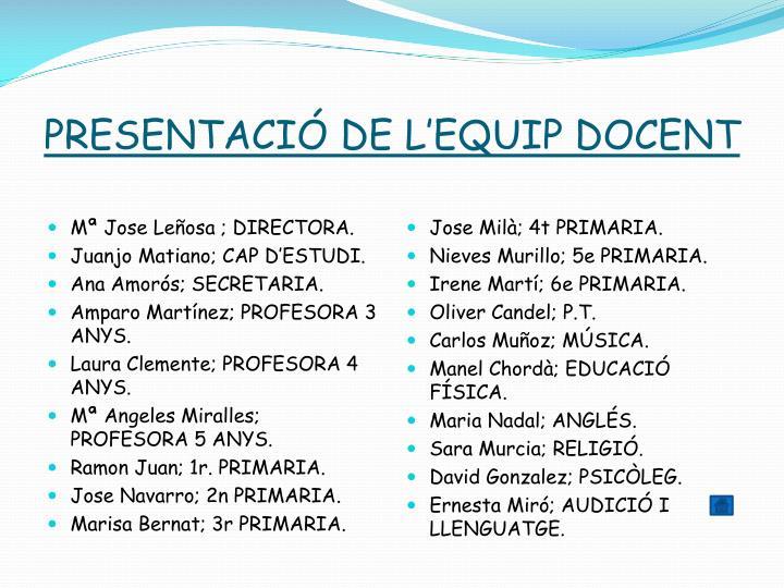 PRESENTACIÓ DE L'EQUIP DOCENT
