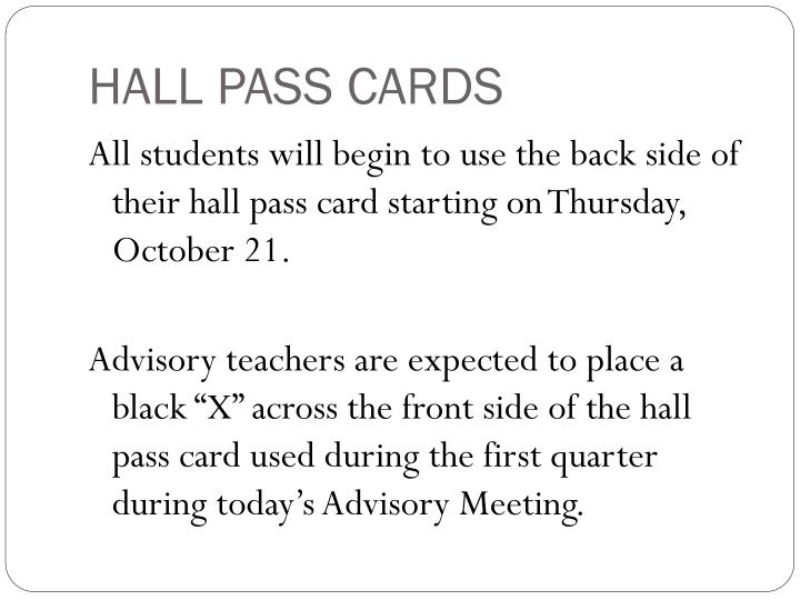 HALL PASS CARDS