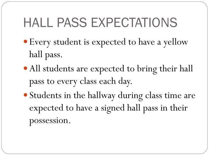 HALL PASS EXPECTATIONS