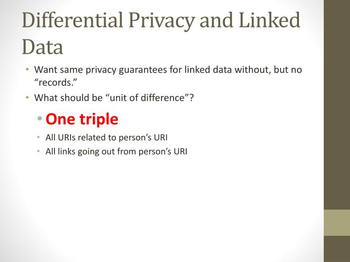 Differential Privacy and Linked Data