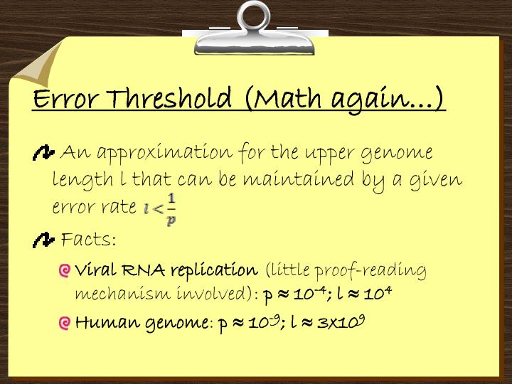 Error Threshold (Math again…)