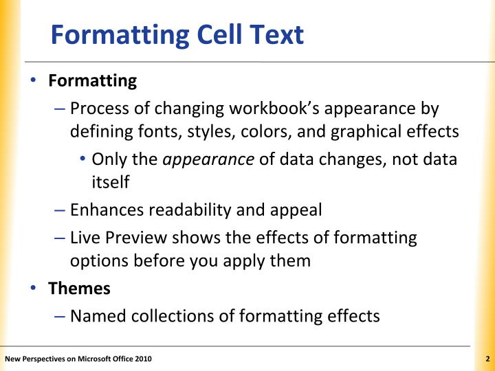 Formatting cell text
