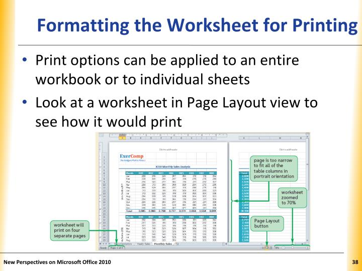 Formatting the Worksheet for Printing