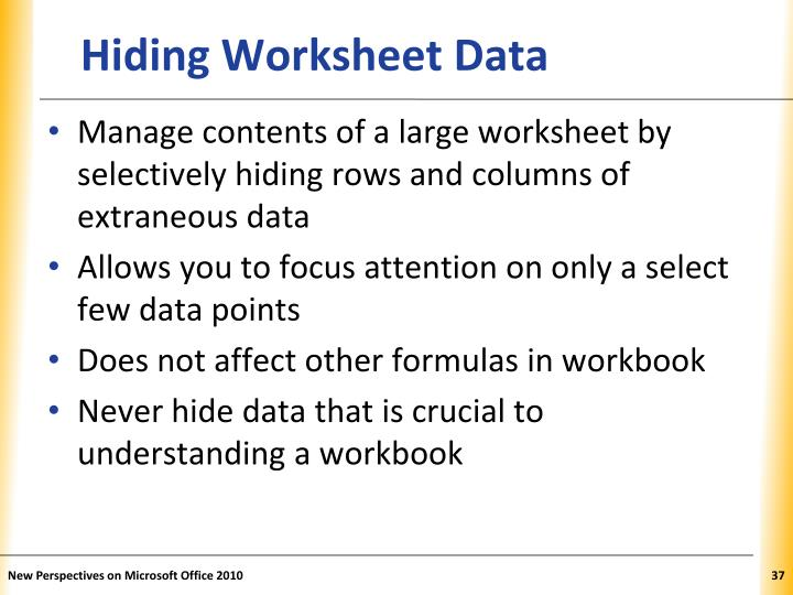 Hiding Worksheet Data