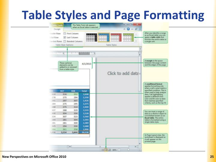 Table Styles and Page Formatting