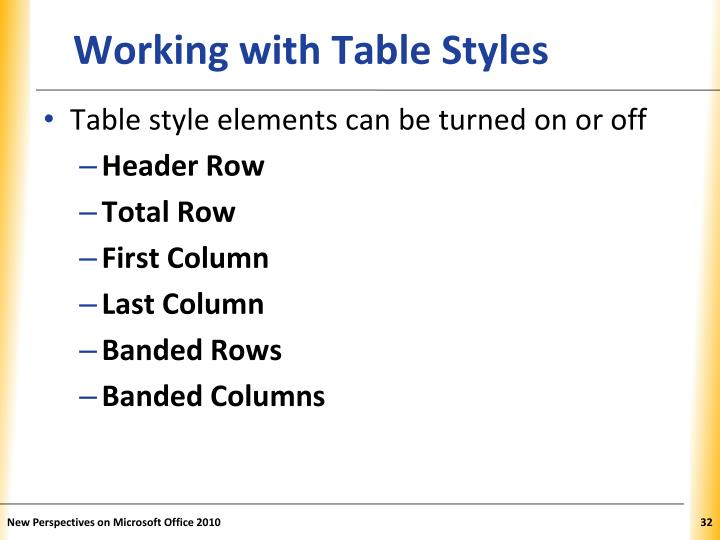 Working with Table Styles
