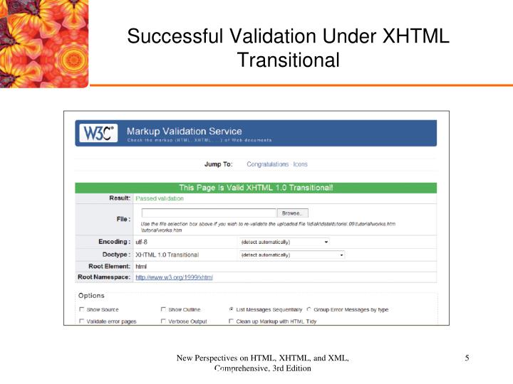 Successful Validation Under XHTML Transitional