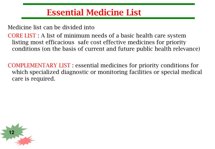 Essential Medicine List