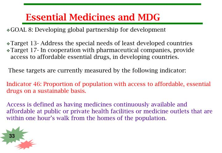 Essential Medicines and MDG