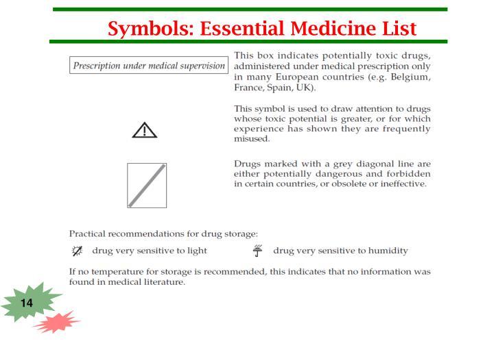 Symbols: Essential Medicine List