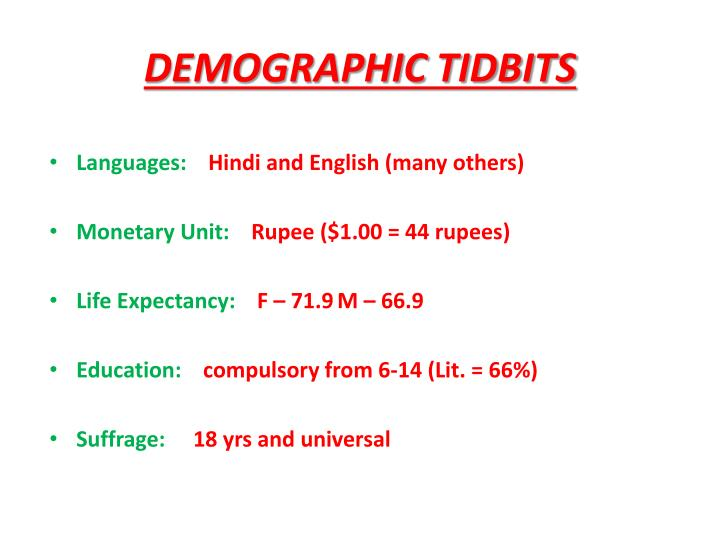 DEMOGRAPHIC TIDBITS
