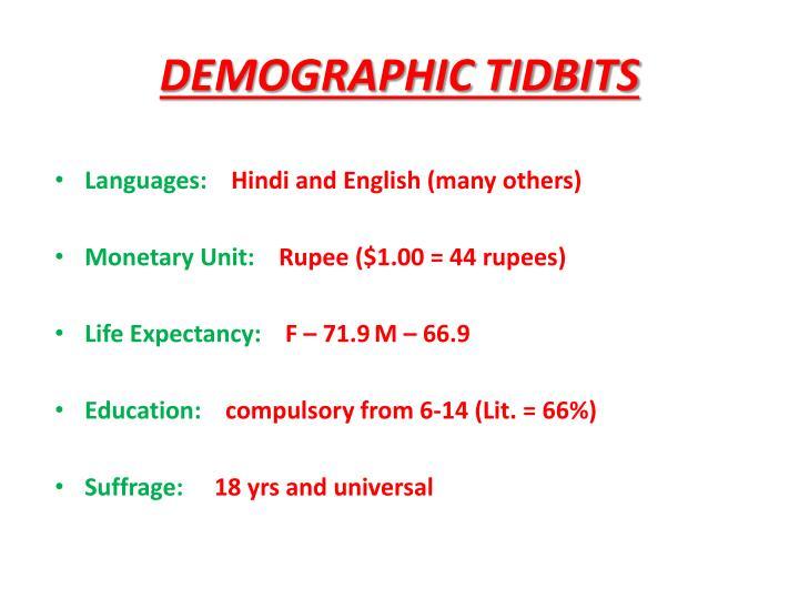 DEMOGRAPHIC TIDBITS