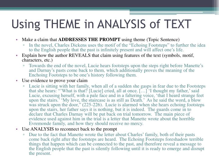 Using THEME in ANALYSIS of TEXT