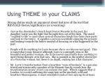 using theme in your claims