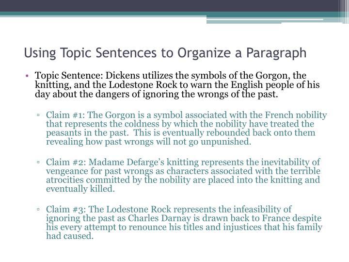 Using Topic Sentences to Organize a Paragraph
