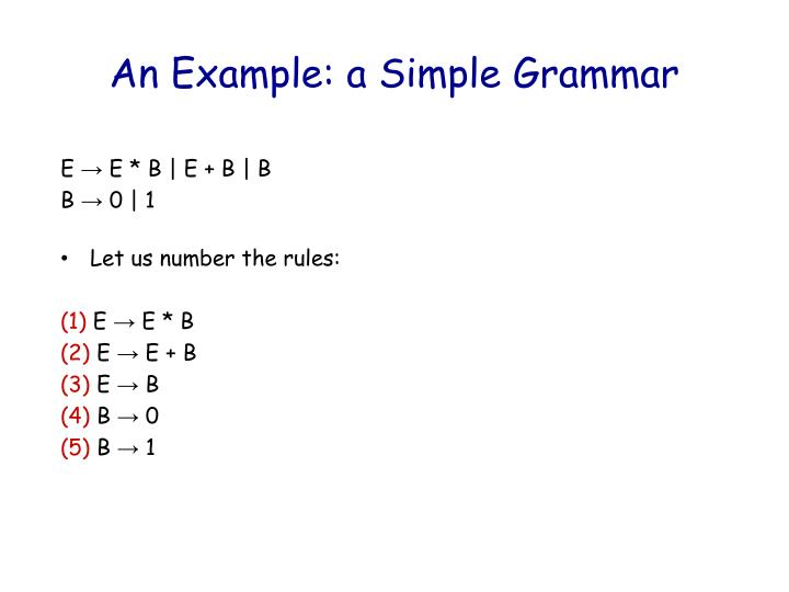 An Example: a Simple Grammar